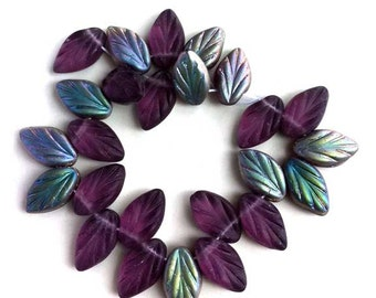 Purple Amethyst Leaf Beads Matte Vitral Czech Glass