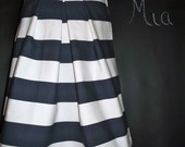 SAMPLE -   A-line Pleated Heavy Weight SKIRT - Nautical - Size S / M - by Boutique Mia and More - Ready To Ship