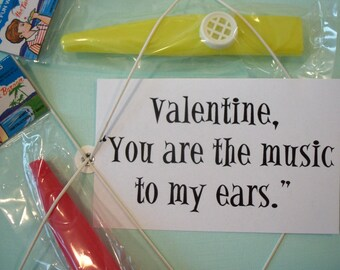 Valentine, You are the music to my ears.  / Vintage Dimestore Plastic Kazoos / Six Pieces / Do it yourself Valentines