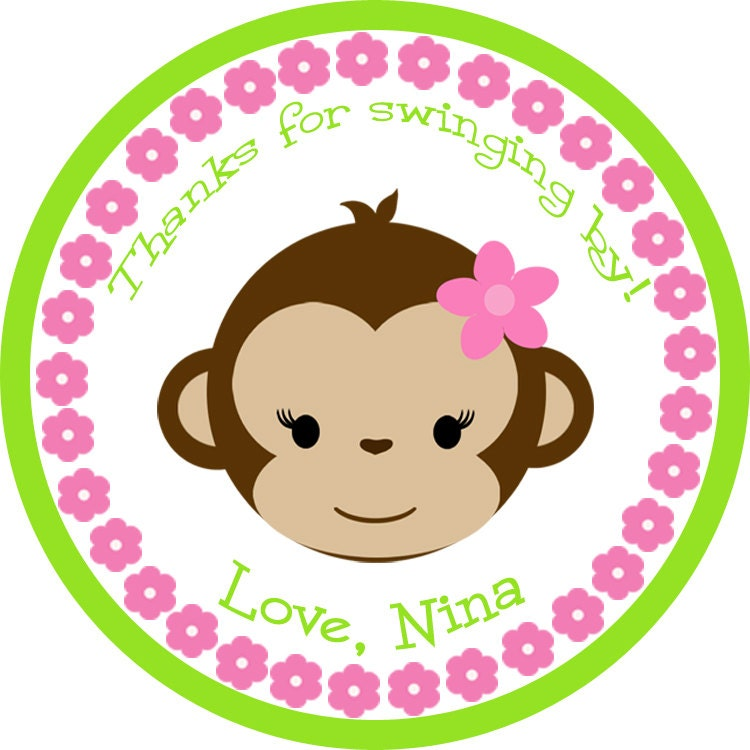 monkey girl sticker / monkey sticker / girl monkey sticker /, Baby shower invitation