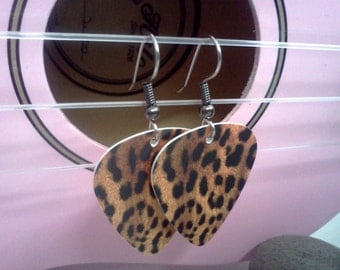 Leopard guitar pick earrings