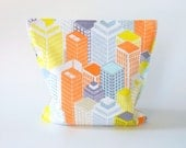 Reusable Snack Bag - Reusable Sandwich Bag - Large Size - Skyscrapers - Eco and Kid Friendly