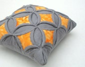 25% Off Sale Gray Orange Batik Quilted Pincushion Cathedral Window Pillow - 5 Inches Square