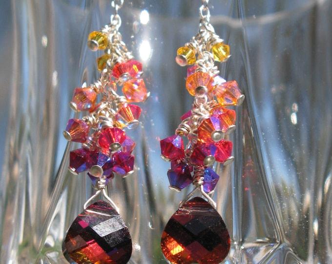 Handmade Rainbow Swarovski Dangle Earrings in Volcano Sunset