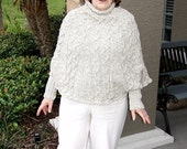 PDF Knit Pattern For A Very Feminine Cabled Poncho With Cuffs