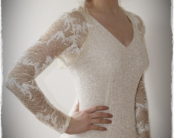 Antique Tea Stain  Bridal Shrug - Vintage Inspired Wedding Lace Bolero in Tea Stain and Sequin
