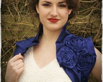 Royal Blue Dupioni Raw Silk Wrap Ruffled Wrap with Handmade Corsage Flower Detail Vintage Inspired