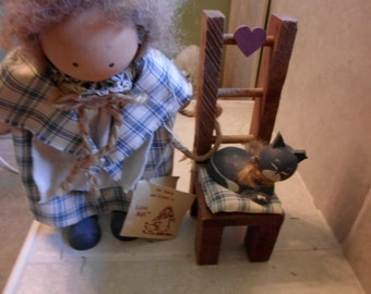 Lizzie High whimsical wooden folk doll.Penelope High with chair and cat,1987 handcrafted with tags