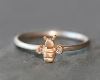 Bee Ring in 14K Gold and Diamonds with Sterling Silver Band