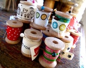 Wooden Spools set of 10 small empty 1.25""