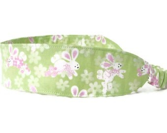 Peter Cottontail Easter Bunny Fabric Headband - Green White Pink Adult Size