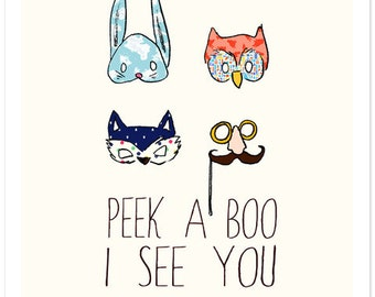 Children's Wall Art Print - I See You - Kids Nursery Room Decor