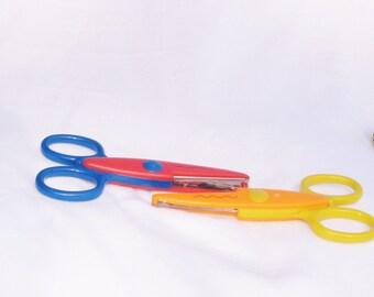 Scissors, tool, plastic, ruffled edge, 2 pair, 5 inch, F, destash