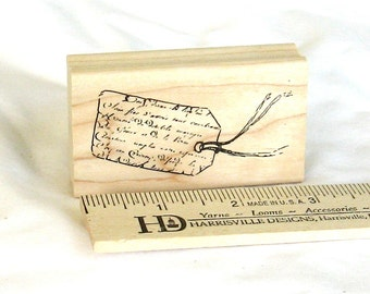 Rubber stamp, tag, script, Inkadinkadoo, small, C, destash