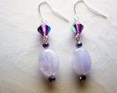 Handmade Light Amethyst with Crystals Beaded Dangling Earrings