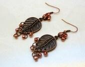 Handmade Dangle ASMR Earrings Leaves Copper Colored Beads