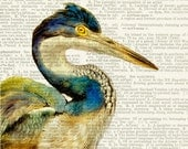 Heron - vintage watercolor printed on page from old dictionary - FauxKiss