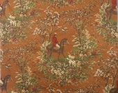 "Ralph Lauren Designer Fabric ""Ainsworth""Color ""Saddle"" printed Equestrian Hunt Scene on a Drapery Weight Cotton Twill"