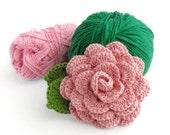 Sew on crocheted rose - handmade light pink flower, crochet applique, crochet flower embellishment, rose applique, headband accessory