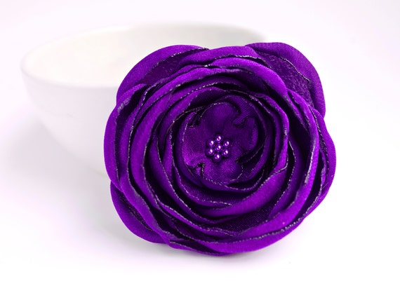 dark purple fabric flower applique big handmade satin, Beautiful flower