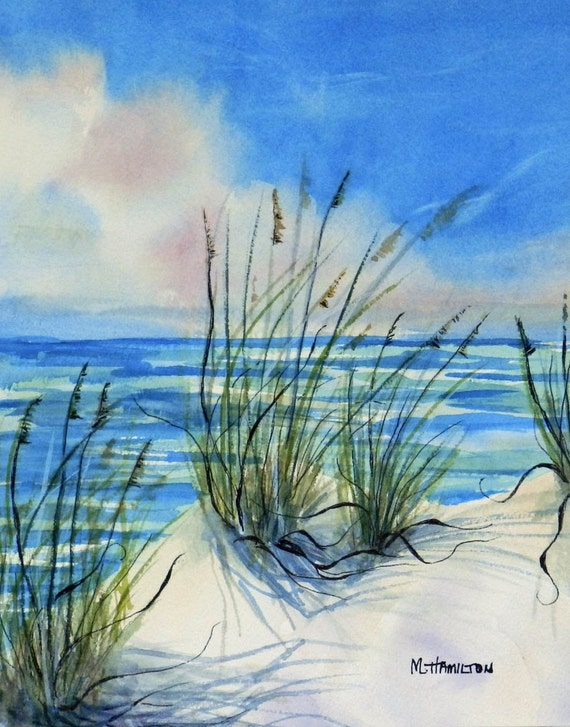 Seascape watercolor painting sea oats white sand and sea for Watercolor scenes beginners