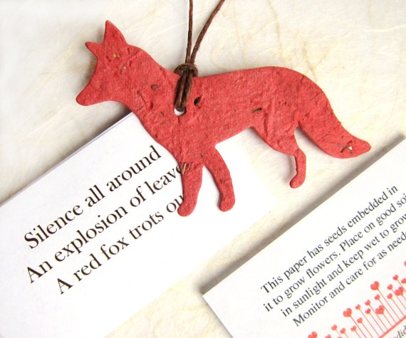 20 Plantable Seed Paper Foxes - Flower Seed Favors - Woodland Wedding