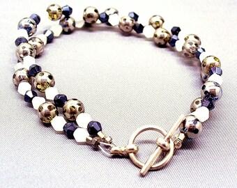 Black and White Bracelet - Classic Spectator Bracelet  ~ Two Strand Bracelet B0208-02