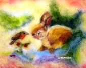 Bunny and bird -4 prints for children o- needle felted wool painting