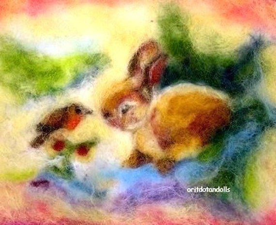 Bunny and bird conversation -blessing card-prints of my wool painting-for children