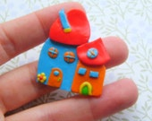 Polymer Clay Colorful House pin brooch or magnet