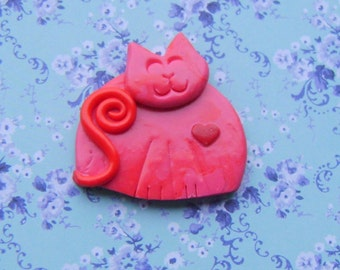 Fimo Polymer Clay Happy Red Cat Pin Brooch or Magnet with Heart