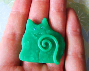 Polymer Clay Translucent Green Happy Cat Brooch or Magnet