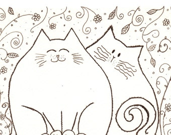 Ink Drawing - two cat friends in the garden - original
