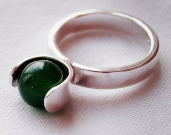 Jade and Sterling Handmade Spinner Ring Size 7.5
