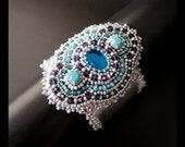 Arctic Lagoon - OOAK Silver Leather Cuff