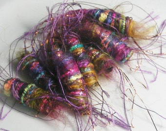 We have some slightly big news. Our sparkle parts talk too. Fiber Bead set, textile art bead, dread bead tube, artisan jewelry bead