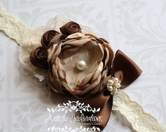 Brewed Awakening - Vintage Inspired Brown Headband, Coffee Headband,