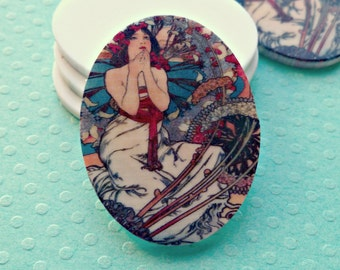 Two 40x30mm Acrylic Alphonse Mucha Lovely Maiden Cabs (3-12B-2)