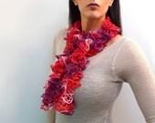 Hand Knit Ruffle Scarf - Multicolor Scarflette / Neckwarmer - Red, Pink, Purple - Boho, Victorian