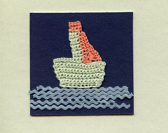 Crocheted Greeting Card / ooak / THE BOAT 2, crochet assemblage rickrack