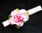 Flower Headband - Pink Green Flower Headband - Photo Prop - Girls, Baby, Toddler, Teen, Adult Headband - Headband Only