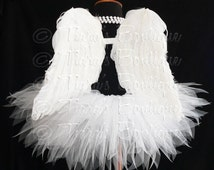"Angel Tutu Costume - 13"" Tutu and Angel Wings - For Girls, Pre-Teens, Teens - Valentine's Day"