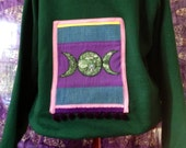 Green Goddess Appliqué Hoodie - Large