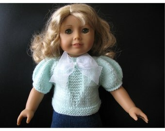knitting PATTERN  BEGINNER level for American Girl 18 inch doll top with puffy sleeves (02)