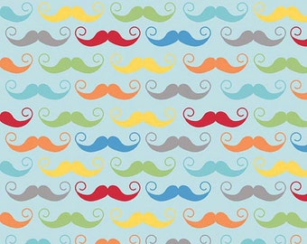 Riley Blake, Geekly Chic Mustache on Aqua Blue, Yard