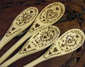 Custom Personalized Wooden Spoon Grouping Woodburned HEART Design, Set of 4