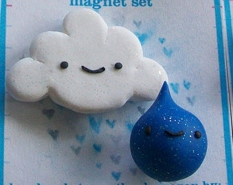 Portland's Perfect Couple Raindrop and Cloud magnet set