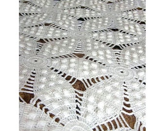 Antique Crocheted Coverlet Handmade Popcorn Stitch Queen Size 64 x 90