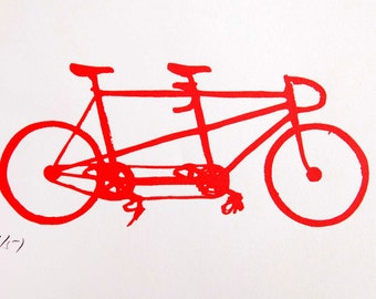 Bicycle Art Print - Schwinn Fixed Gear Tandem in Red