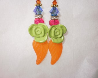 Flower & Leaf Earrings With Crystals
